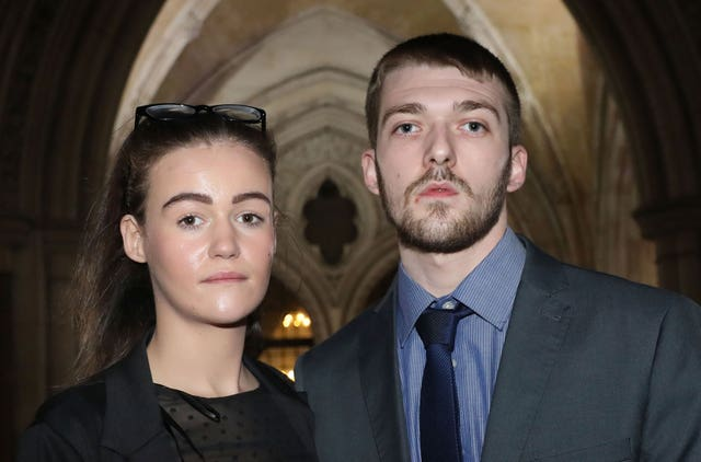 Alfie's parents, Kate James and Tom Evans, are asking the European Court of Human Rights to hear their case (Philip Toscano/PA)