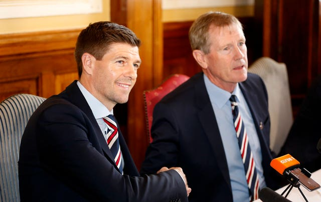 Dave King, right, with Rangers manager Steven Gerrard