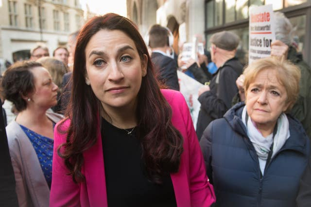 Labour MPs Luciana Berger and Margaret Hodge outside the hearing (Stefan Rousseau/PA)