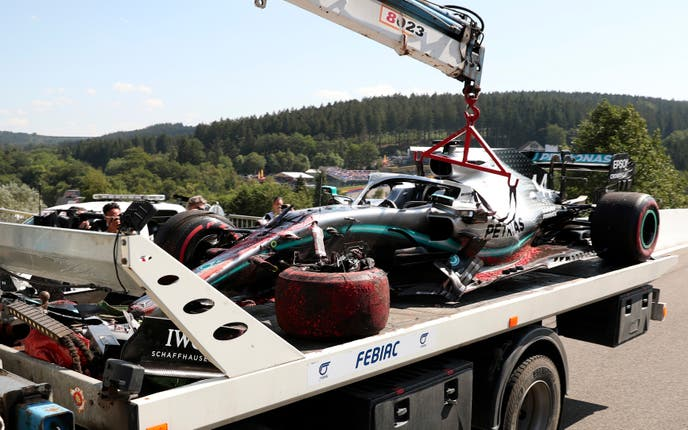 Lewis Hamilton's car suffered extensive damage when he crashed in final practice