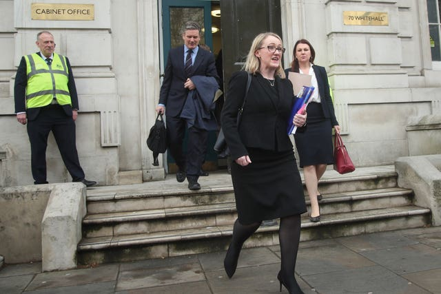 Labour MPs leave the Cabinet Office after Brexit talks with members of the Government