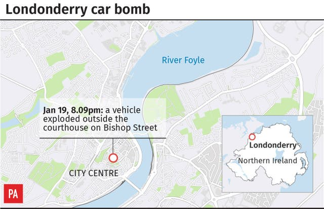 Locates car bomb explosion in Londonderry