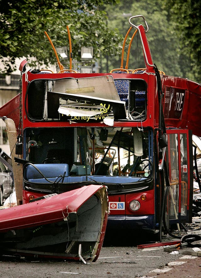 The number 30 double-decker bus in Tavistock Square, which was destroyed by a terrorist bomb on July 7