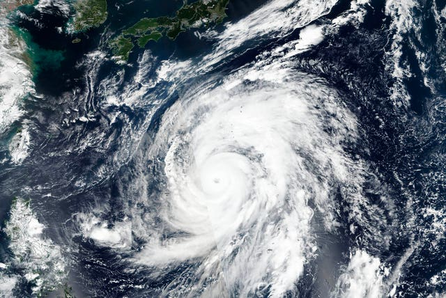 A satellite photograph of Typhoon Hagibis