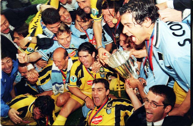 Lazio celebrate winning the UEFA Cup Winners' Cup in 1999