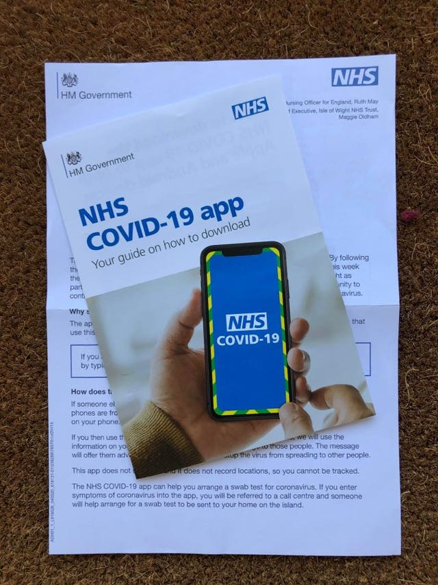 The leaflet and information pack explaining the Government's NHS Covid-19 contact tracing app