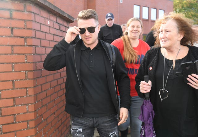 Tommy Robinson leaves Luton Magistrates' Court