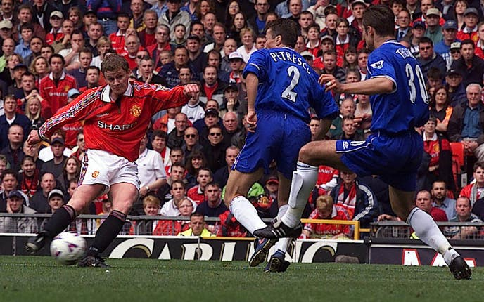 Ole Gunnar Solskjaer scores to help his side beat Chelsea 3-0 during the club's 2001/02 campaign