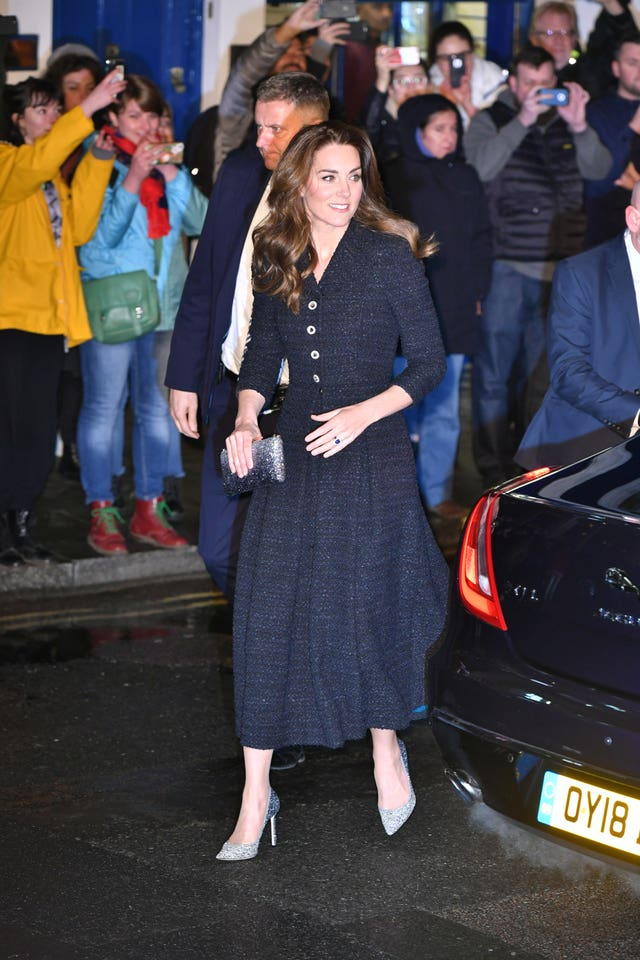 The Duchess of Cambridge arrives at the Noel Coward Theatre in London to attend a special performance of Dear Evan Hansen