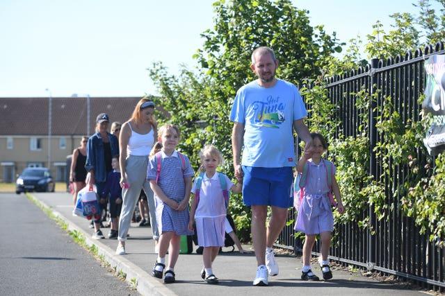 Children returning to school