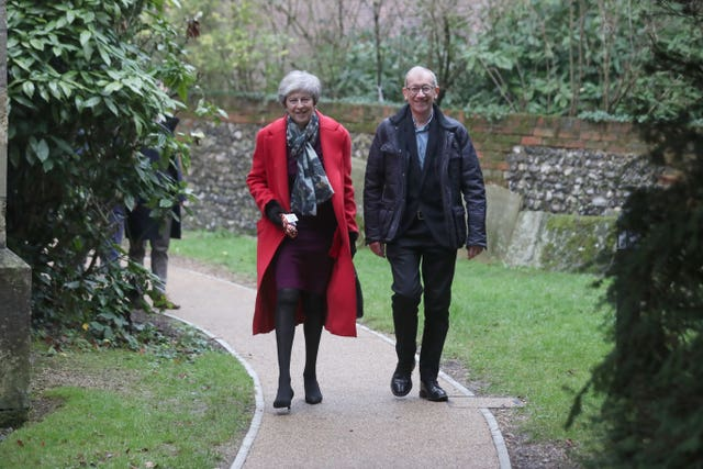 Theresa May attends Christmas Day Church service