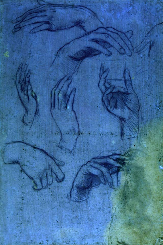 Studies of hands for the Adoration of the Magi, as seen under ultraviolet light