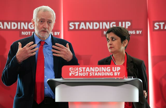 Jeremy Corbyn at the launch of the anti-Semtism report with Baroness Chakrabarti (Jonathan Brady/PA)