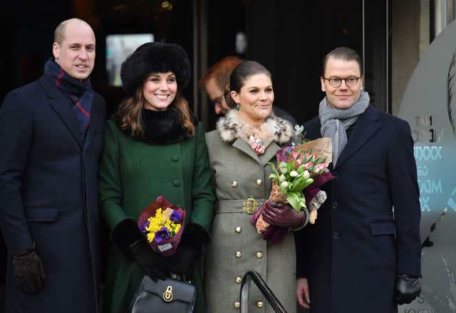 The Duke and Duchess of Cambridge, pictured with the Crown Princess Victoria and Prince Daniel of Sweden on Tuesday, will be joined by the foreign royals during day two of their Nordic tour (Dominic Lipinski/PA)