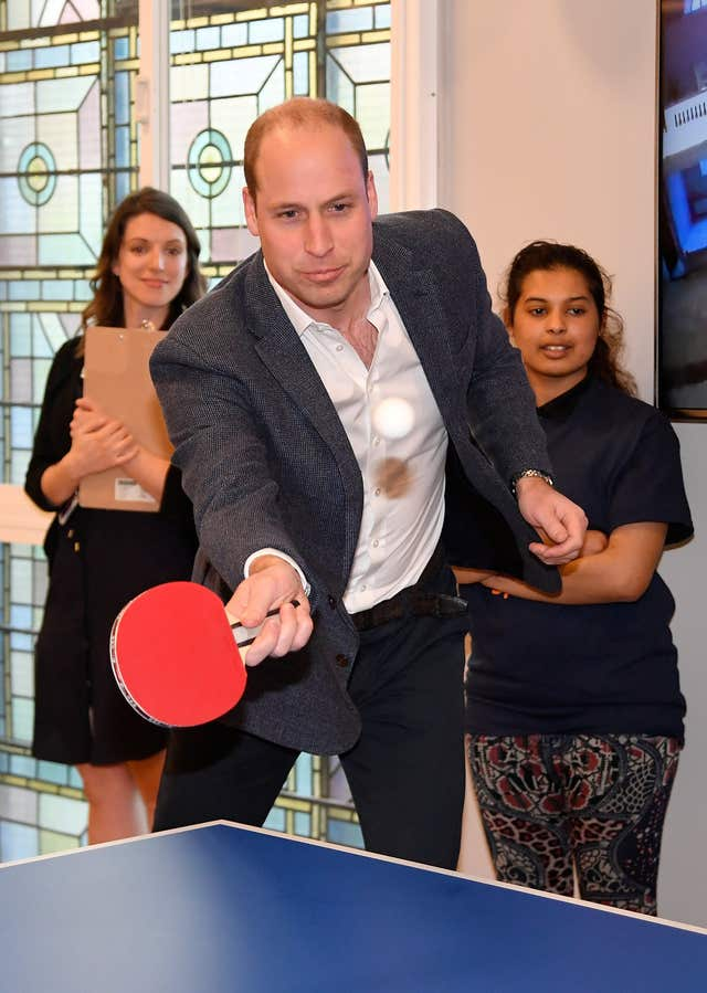 William plays table tennis at the Greenhouse Centre in London (Toby Melville/PA)