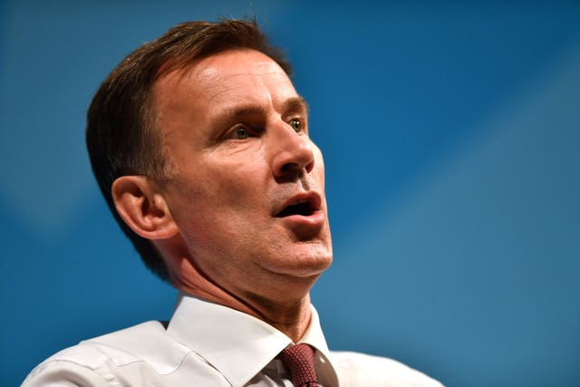 Former health secretary Jeremy Hunt criticised the Government's approach (Jacob King/PA)