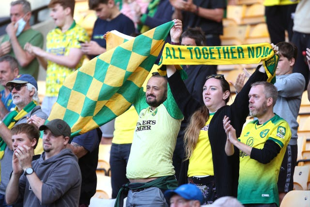Norwich fans support their team during the pilot event against Preston