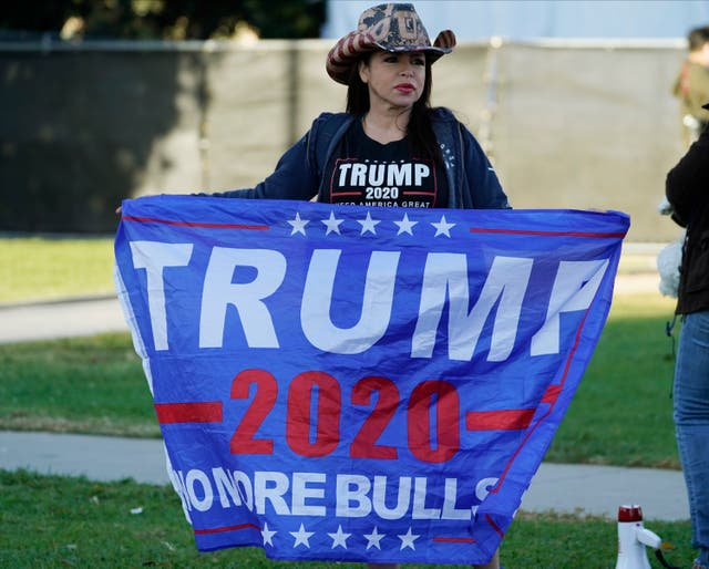 A Trump supporter in Beverly Hills, California
