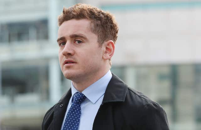 Ireland and Ulster rugby player Paddy Jackson arriving at Belfast Crown Court (Niall Carson/PA)