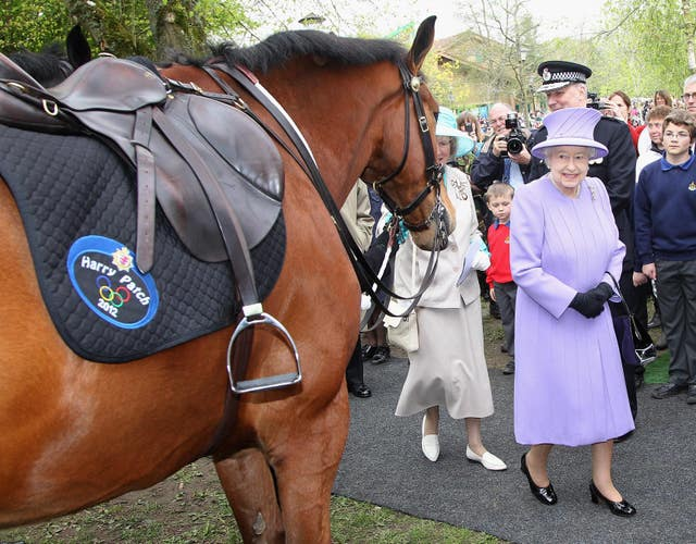 The Queen meets a Police Horse called Harry Patch during her last visit to Somerset (Chris Jackson/PA).