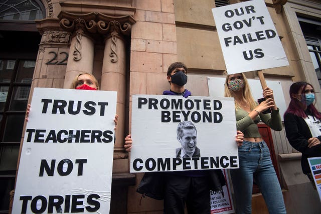 Students protest in Westminster over the government's handling of A-level results
