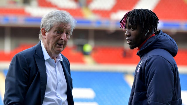 Crystal Palace manager Roy Hodgson, left, praised Wilfried Zaha for calling out the racist abuse the winger received online