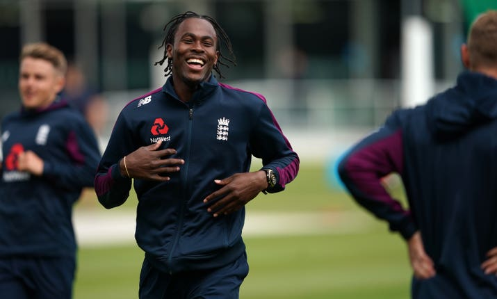 Jofra Archer enjoying a nets session at Lord's