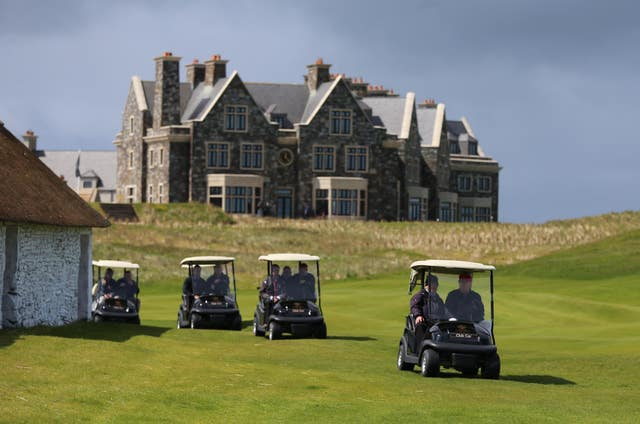 Golf buggies on the Doonbeg links course