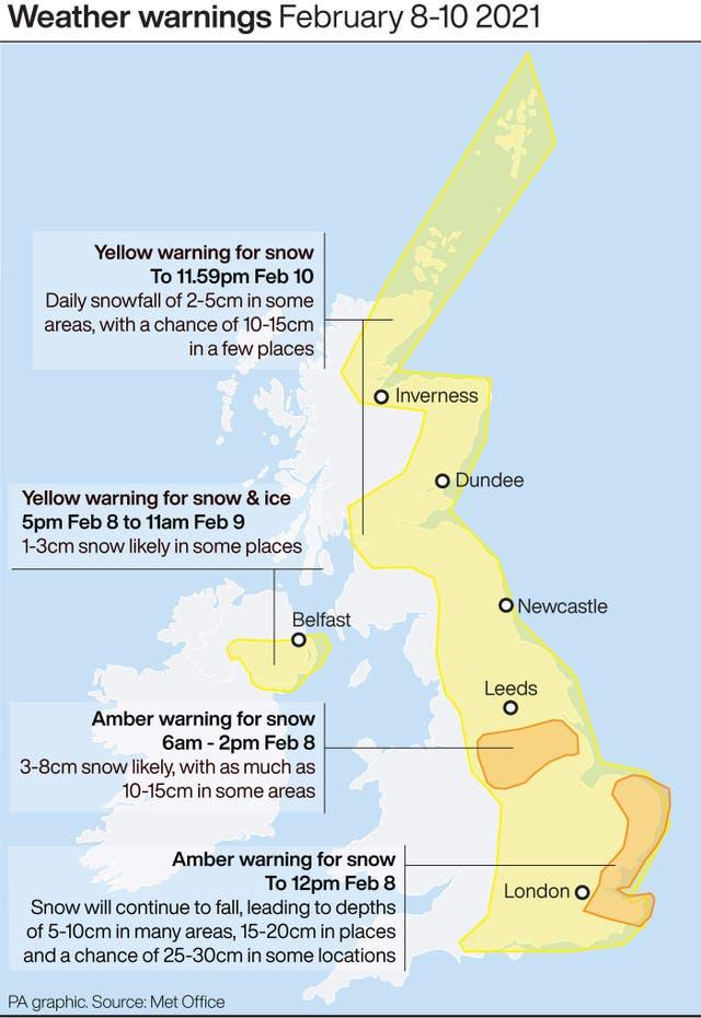 Weather warnings February 8-10 2021