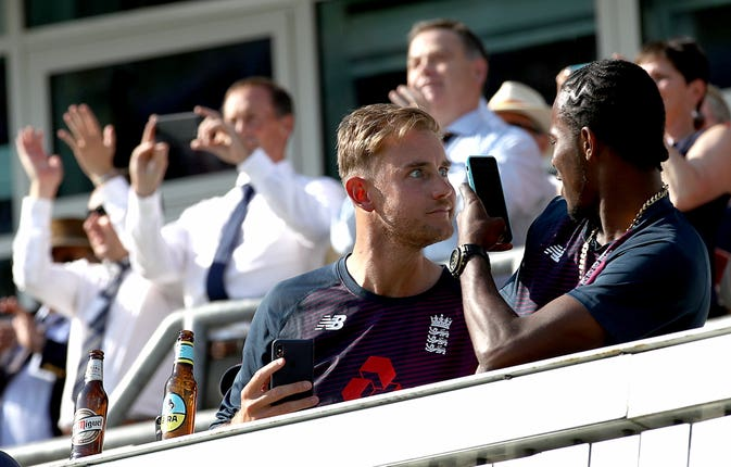 Stuart Broad and Jofra Archer toast a remarkable victory
