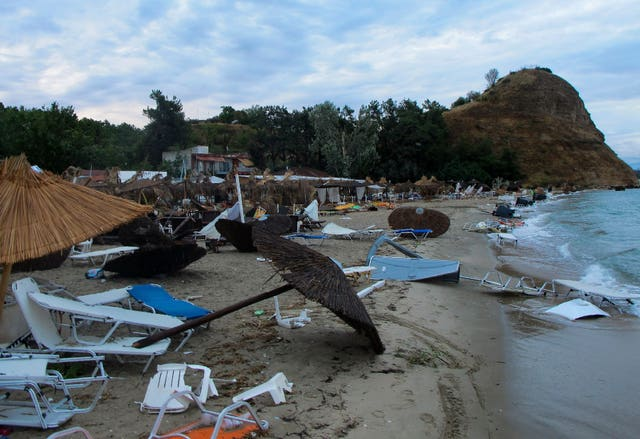 Debris after a storm on a beach in Vergia village in the Halkidiki region of northern Greece