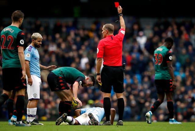 Fernandinho was sent off against Villa