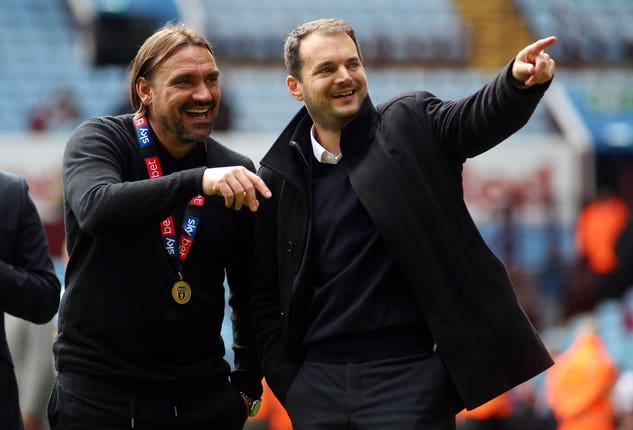 Norwich sporting director Stuart Webber, right, with manager Daniel Farke