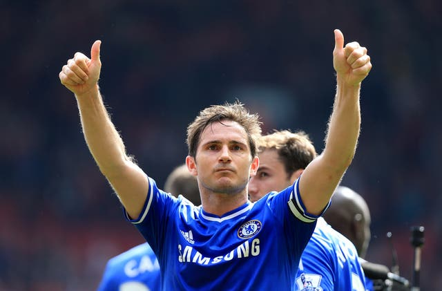 Frank Lampard salutes the Chelsea fans
