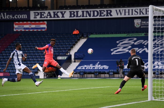 Tammy Abraham attempts a shot on goal against West Brom