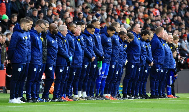 Cardiff City players observe a minute's silence in honour of the late Emiliano Sala during the Premier League match at Southampton