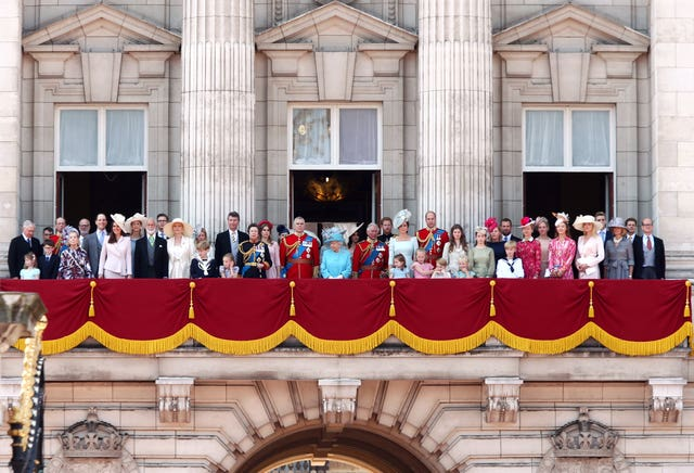 Members of the royal family on the Buckingham Palace balcony