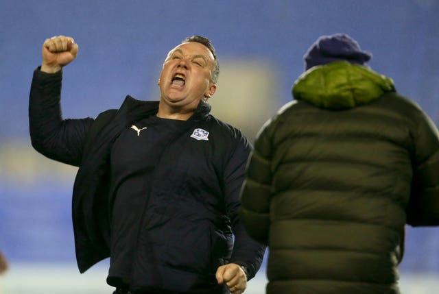 Micky Mellon's Tranmere entered the suspension on a three-game winning run (Richard Sellers/PA).