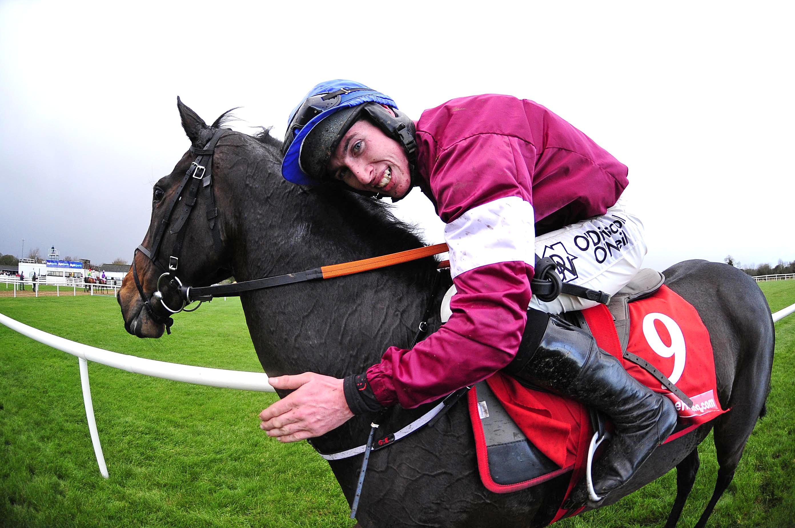 Apple's Jade and Jack Kennedy celebrate winning Hatton's Grace Hurdle for the third time in a row