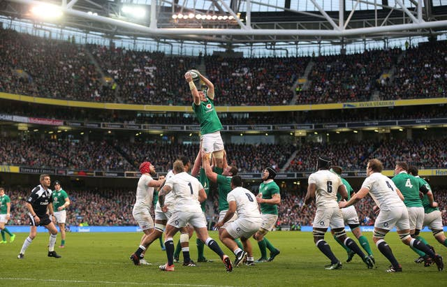 Ireland's Peter O'Mahony gathers in the line out in the Six Nations