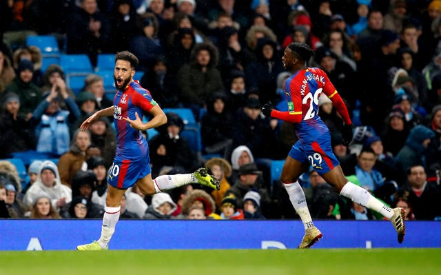 Andros Townsend (left) scored a sublime goal as Crystal Palace won at Man City last year.