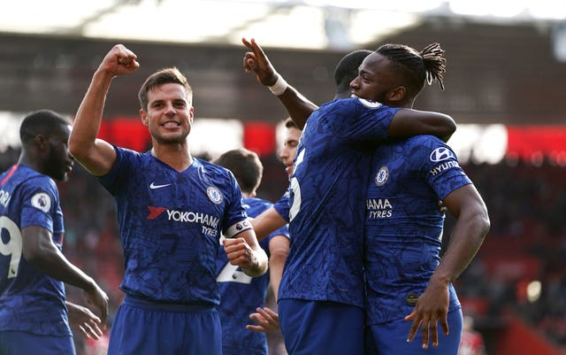 Chelsea's Michy Batshuayi (right) was among the goals as Chelsea ran out 4-1 winners at Southampton.