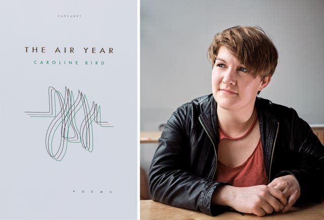 Caroline Bird with the front cover of her book The Air Year