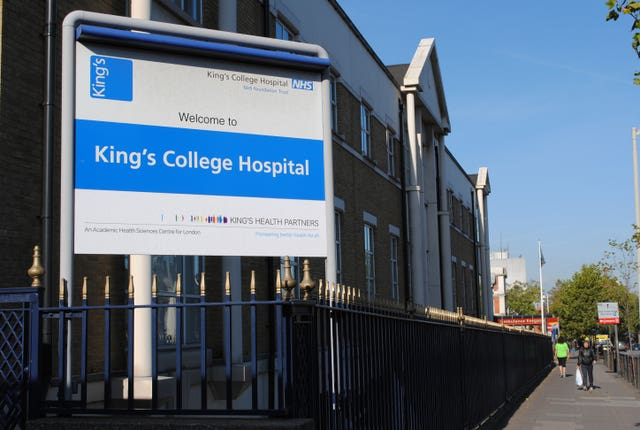 King's College Hospital, Denmark Hill, London (Andy Hepburn/PA)