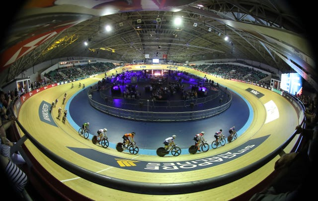 Riders take part in the women's elimination race during day two of the Six Day Series in Manchester