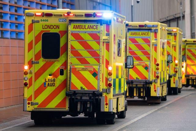 General view of ambulances outside the Royal London Hospital (Dominic Lipinski/PA)