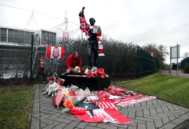 Tributes have been left at Stoke's stadium