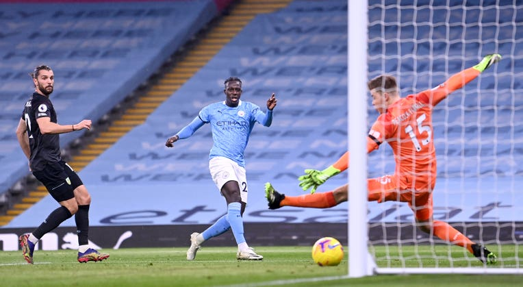 Manchester City's Benjamin Mendy scores his side's third goal in the 6-0 win over Burnley
