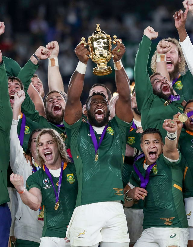 South Africa captain Siya Kolisi holds aloft the Webb Ellis Cup in November after a convincing victory over England. Eddie Jones' side defeated Australia and defending champions New Zealand en route to the final but were second best against the Springboks at Yokohama Stadium, losing 32-12