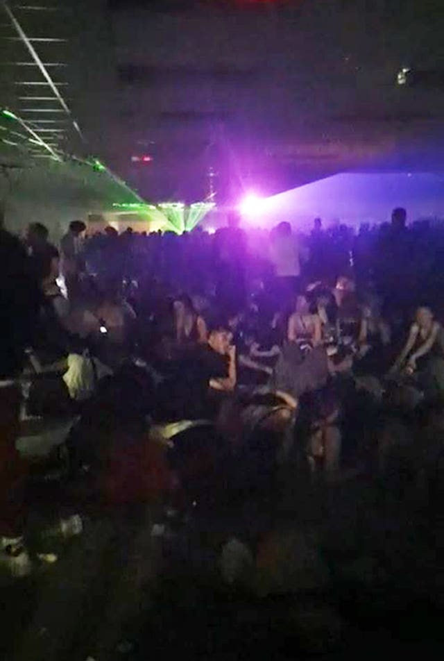 Rave at a disused carpet store